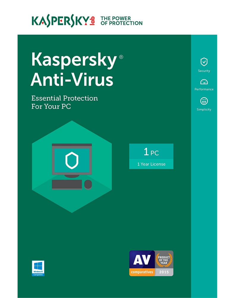Kaspersky Anti-Virus 2018 (1 jaar - 3 PCs)
