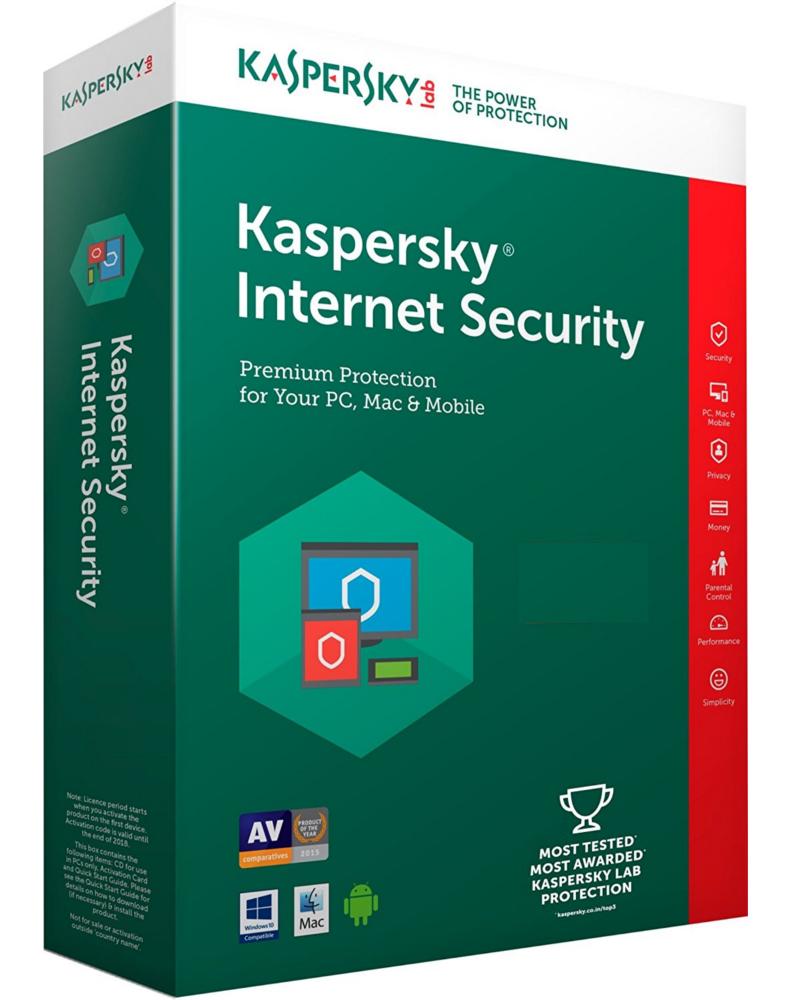 Kaspersky Internet Security 2018 (1 jaar - 10 installaties)