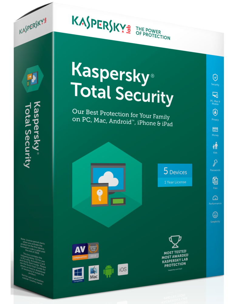 Kaspersky Total Security 2018 (1 jaar - 5 apparaten)
